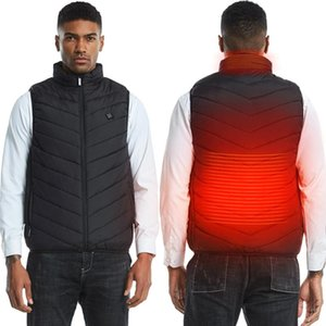 Heating Jacket Warmer Thermal Heated Vest Waistcoat USB 3 Levels Adjustable Temperature High Collar Zipper Winter Warm Clothing