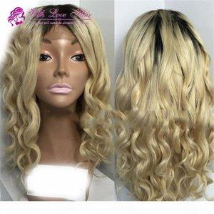 В наличии Бразильский человеческий волосы натуральные волны OMBRE два тонкой блондинки кружева передних париков Высокое качество бесплатная доставка