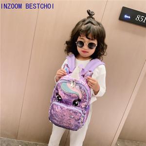 Unicorn Paillettes bambini borse zaino di scuola dei bambini per adolescenti femmine Backpack Cartoon zaini sveglio Grande Mochila Infantil 201015
