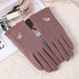 New Women Winter Keep Warm Touch Screen Drive Windproof Gloves Female Thin Section Plus Velvet Inside Embroidery Elegant Gloves
