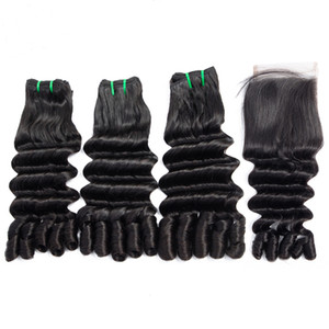 Ocean Wave Funmi Hair Double Drawn Human Hair Bundles with Closure Unprocessed Brazilian Virgin Hair Bundles with Closures