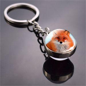 Животное брелок Tiger Wolf Fox Lion двухсторонний стеклянный шар для ключевой цепи черный кошка лошадь и лунный ключ кольцо подвеска брелок 179 г2