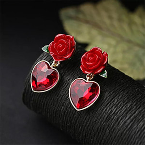 Red Heart Crystal Drop Earrings For Woman Rose Flower Green Leaf Vintage Earrings Wedding bridal Fashion Jewelry 2020