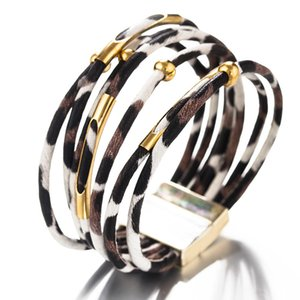 Fashion 3 Colors Leopard Leather Bracelets for Women Bohemian Multilayer Bangles Bracelets Wide Wrap Bracelet Jewelry Gifts ps2394