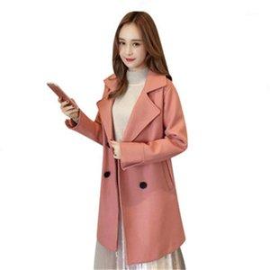 Sonbahar Kış Büyük Boy kadın Yün Ceket Vintage Gevşek Kadın Beit Siper Büyük Boy Giyim Kruvaze Uzun Coat D8601