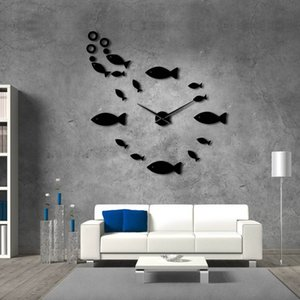 Fish With Bubble DIY Giant Mute Wall Clock Mirror Effect Wall Art Home Decor Aquarium Decoration Frameless Big Needle Time Watch