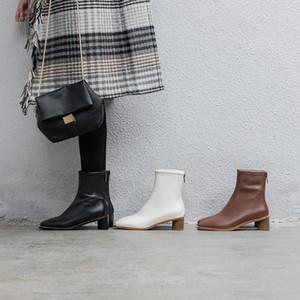 NORBERG Yeni Kare Ayak Bileği Boots Yuvarlak Topuklar Kadınlar Boots İlkbahar / Sonbahar Bayan Ayakkabı Zip Yüksek (5 cm-8 cm) Kauçuk Temel