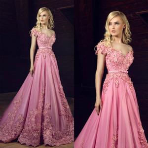 Gorgeous 3D Flowers Prom Dresses Pink Lace 2021 Arabic Off Shoulder Formal Evening Gowns Cap Sleeves Sweep Train Vestidos De Fiesta AL7348