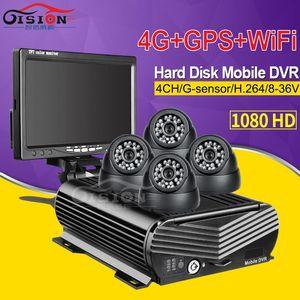 4G GPS WIFI 2TB Hard Disk 256G SD 4CH HDD Mobile Dvr Video Recorder Realtime Remote Monitoring+4 Inside Dom 2.0MP Car Dvr Camera