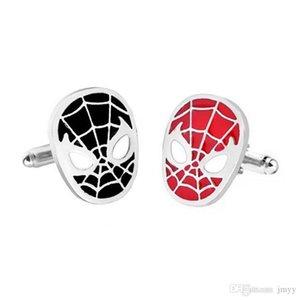 Moive Bijoux Spider Man Cufflinks Français Hommes Chemises Argent Plaqué Noir Rouge Boutons de manchette pour cadeau