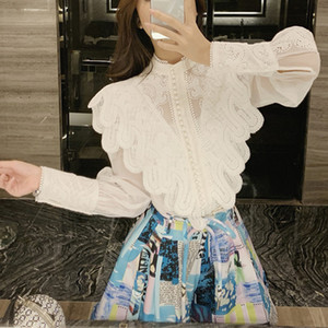 [LIVIVIO] Embroidery Lace Ruffled Lantern Long Sleeve Stand Neck Single Breasted Shirts + Mini Skirt Women Two Piece Sets 201012