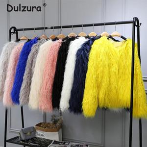 Manteau Mongolie moelleuse Manteau Faux Manteau Femmes Shaggy Long Long Couleur Cheveux Fake Fur Fourrure 2020 Femmes Vestes d'hiver Manteaux Plus Taille 4XL