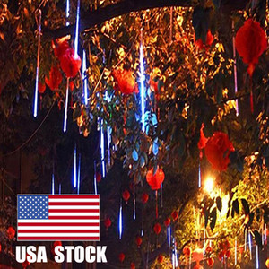 50cm 10 Tubes LED Meteor Shower Lights,10 Ultra Bright LED Waterproof cicle Raindrop Lights 19.68 inches Tubes for Christmas,Tree,Wedding