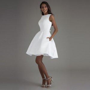 Booma kurze Brautkleider 2020 weißes Elfenbein Brautkleid Weiß Brautkleider Hohe Qualität Satin Hochzeits-Partykleider