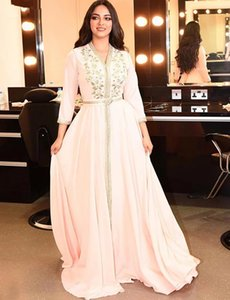 Pearl Pink Moroccan Kaftan Evening Dresses Long Prom Dress 2020 Embroidery A-Line Full Sleeve Arabic Muslim Formal homecoming
