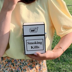 Creative Chains Box Women Shoulder Bags Designer Cigarette Case Shape Crossbody Bag Lady Funny Small Purse Chic Female Bags 2020