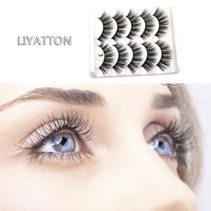 Liyatton 5 pairs Lifelike Wispy Curly Fake Lashes Cilio Faux Cils Extension Makeup Tools Cruelty Free Soft Full Strip Eyelashes