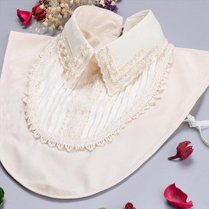 Decoration yarn princess bead collier Crystal decaration blouse peter pan collares Detachable Collars Round Button Fake Collar