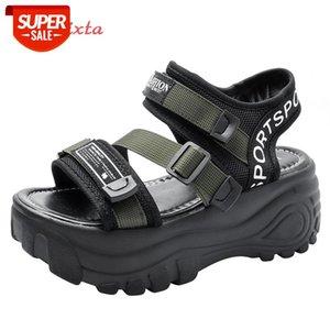 Aphixta 6cm dicke boden plattform sandalen frauen diamant kristalle höhe wachsende schuhe frauen leinwand sommer schnalle frau sandal # 1y4x