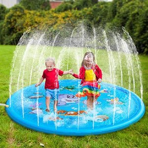 170cm Summer Children's Outdoor Play Water Games Beach Mat Lawn Inflatable Sprinkler Cushion Toys Cushion Gift Fun For Kids Baby 201014