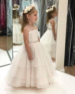 Ruffles Ivory Flower Girl Dress 2020 Ballgown Ankle-Length Kids Prom Birthday Formal Event Party Infant Toddler Pageant Gown for Little Girl