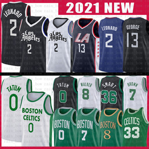 Jayson 0 Tatum Kawhi 2 Paul 13 George Leonard Basketball Jersey Kemba 8 Walker 33 Jaylen 7 Brown Marcus 36 Smart Retro 2021 New Jerseys
