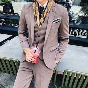 Autumn and Winter (Jacket+Pant+vest) Men Suit Male 3 Pieces Set Korean Suit for Men's Leisure Business Wedding Dress