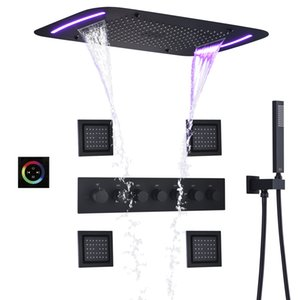 DULABRAHE termostática Banho Set torneira do chuveiro Cachoeira Bath Panel Mixer teto LED Rainfall Shower Head 71X43 Sistema Bath CM