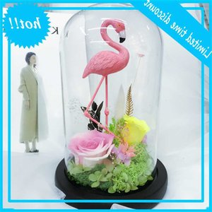 Handmade quality glass cover of immortalized flower express l 520 gift box Flamingo Kunming flowers