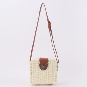 Cream Straw Bag Trunk Bags Cute Crossbody Bags Women Shoulder Bags Handbags Tote Wallet Purses Vacation Beach 21011406L