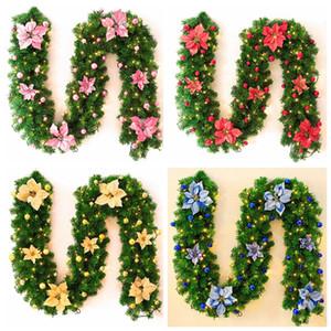 2.7 m Christmas LED Ratán Garland Decorativo Verde Guirnalda Guirnalda Artificial Árbol de Navidad Ratán Banner Colorido Decoración Props VT1869