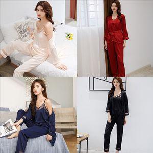 LRR3 Panda lunghezza Stampa Donna Signore Set Pigiama Cotton Cotton Homewear Full Carino Summer Summer Pajamas