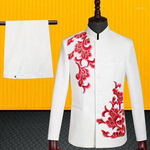 Blazer men Chinese tunic suit set with pants mens wedding suits costume singer Chinese style stage clothing formal dress white1