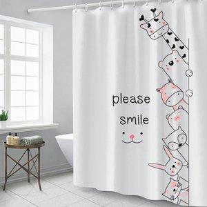 만화 동물 샤워 커튼 노르딕 방수 곰팡이 폴리 에스테르 욕실 커튼 두꺼운 패브릭 목욕 커튼 바다 해운 HWB4788