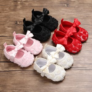 Newborn baby kids princess First Walkers Infants soft bottom rose Flowers Shoes 2021 Spring Autumn Toddler shoes 4 Colors Z1899