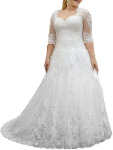 2020 A-Line Wedding Dresses Women's Lace Wedding Dresses for Bride with 3 4 Sleeves Plus Size Bridal Gown
