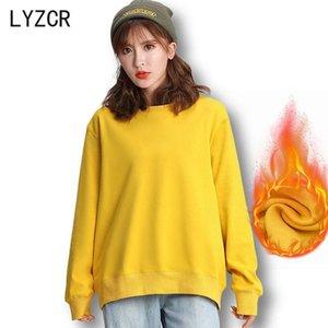 Lyzcr mulheres velo moletom com capuz 2020 outono inverno veludo moletom moletom para mulheres casuais casuais pulôver jaqueta pullover