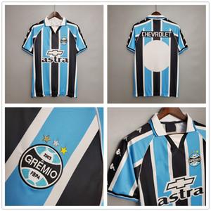 2000 2001 Retro Gremio Soccer Jerseys Personalizzato Qualsiasi Nome Numero Vintage Classic 00 01 Gremio Home Blu Camicia da calcio Bianco Camisetas de Futbol