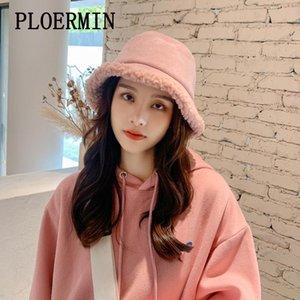 PLOERMIN 새로운 야외 여러 가지 빛깔의 Lambswool 가짜 모피 솔리드 패턴 버킷 모자 여성 겨울 소프트 따뜻한 Gorros Mujer 어부의 모자