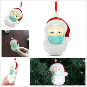2020 adorno de navidad decoraciones de resina de Navidad de Santa pendiente del árbol que cuelga del árbol de Navidad de Santa Claus Colgante con la máscara de la familia de regalo