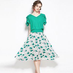 Abhps Sommer Temperament alters reduzierend Shirt Anzug gedruckt gekräuselt sexyshoulder Chiffon- Aline ALINE DRESS shirtskirt Shirt Anzug zwei-pie