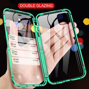 360 magnético de adsorción del metal para el iPhone 12 11 XS Pro Max XR doble cara caja de cristal para el iPhone 7 Plus SE Imán Cubierta
