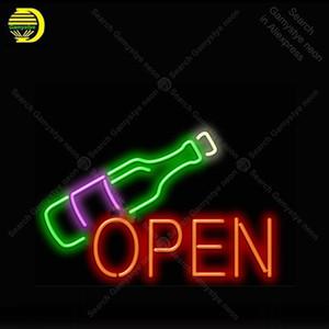 Wine Bottle Open Neon Bulbs Sign Real Glass Tube Handcraft light Sign Recreation Hotel Iconic Sign Neon Lights anuncio luminoso