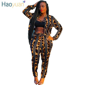 HAOYUAN Striped Leopard Two Piece Set Tracksuit Women Fall Long Sleeve Jacket Top Pant Sweatsuit 2 Piece Outfits Matching Sets