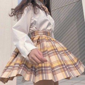 Fashion Women Plaid Plised A-Line Anti-BurnOuts High Cintura Falda corta Faldas de moda Faldas