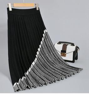 GIGOGOU Luxury Geometric Long Knit Women Pleated Skirt Autumn Winter Thick Warm A Line Skirt Elgant Knitted Sweater Skirt Femme 201017