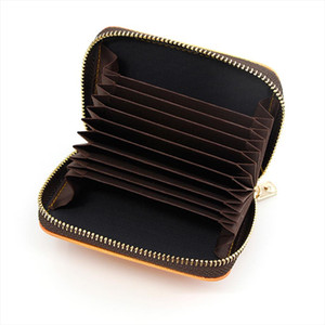 Fashion Business Card Holder High Quality Leather Credit Card Holder Women Zipper Pocket Unisex Case Dropshipping