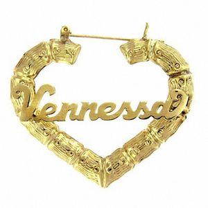 3UMeter القلب الخيزران أقراط الهيب هوب الزركون رسالة أقراط المرأة الشخصية اسم مخصص الذهب هدية مخصص