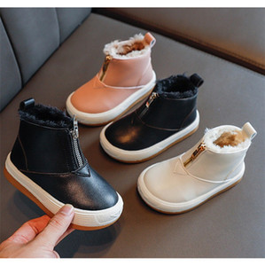 2021 Children Winter Warm PU Matin Boots Boys Girls Artificial Wool Half Zipper Snow Boots Outdoors Cute Kids Matin Boots Shoes LY10141