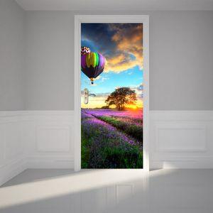 Balloons Door Stickers Muraux Dusk Cloud Lavender Flowers Adhesive 3D Wallpaper for Girls Room Bedroom House Decor Deur Sticker